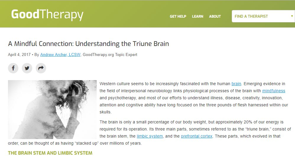 Screenshot of an article: A Mindful Connection: Understanding the Triune Brain