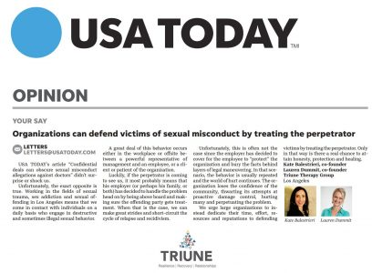Screenshot of an article - USA Today Article