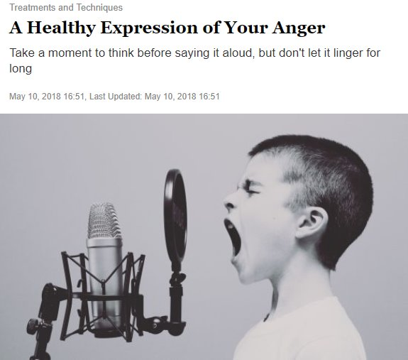 Screenshot of an article - A Healthy Expression of Your Anger