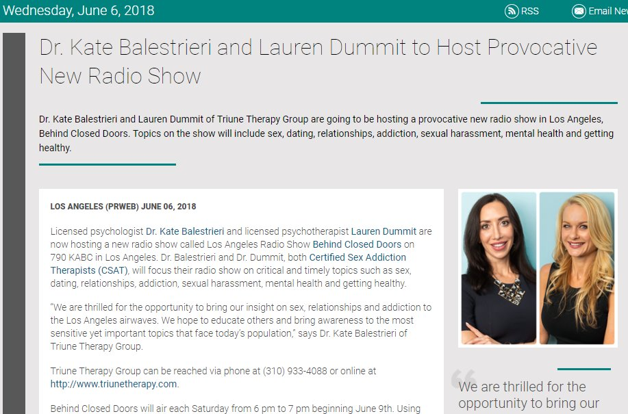Screenshot of an article - Dr. Kate Balestrieri and Lauren Dummit to Host Provocative New Radio Show