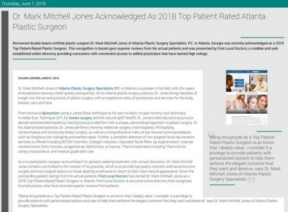 Dr. Mark Mitchell Jones Acknowledged As 2018 Top Patient Rated Atlanta Plastic Surgeon