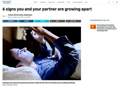 Screenshot of an article - 6 signs you and your partner are growing apart