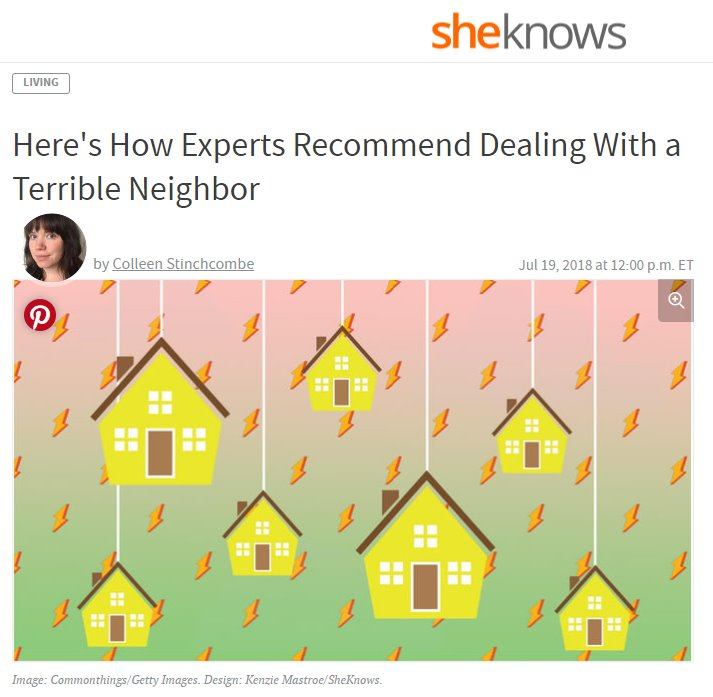 Screenshot of an article - Here's How Experts Recommend Dealing With a Terrible Neighbor