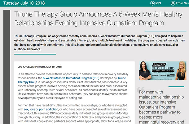 Screenshot of an article - Triune Therapy Group Announces A 6-Week Men's Healthy Relationships Evening Intensive Outpatient Program.
