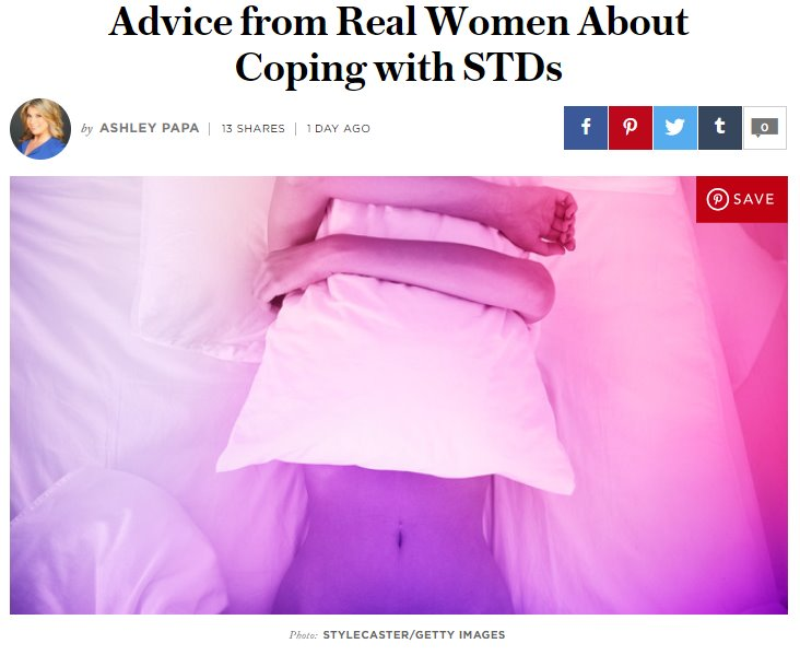 Screenshot of an article - Advice from Real Women About Coping with STDs